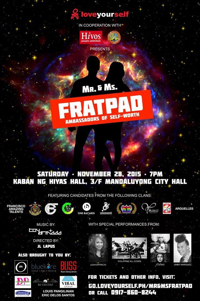 LoveYourSelf: Mr. and Ms. Fratpad 2015